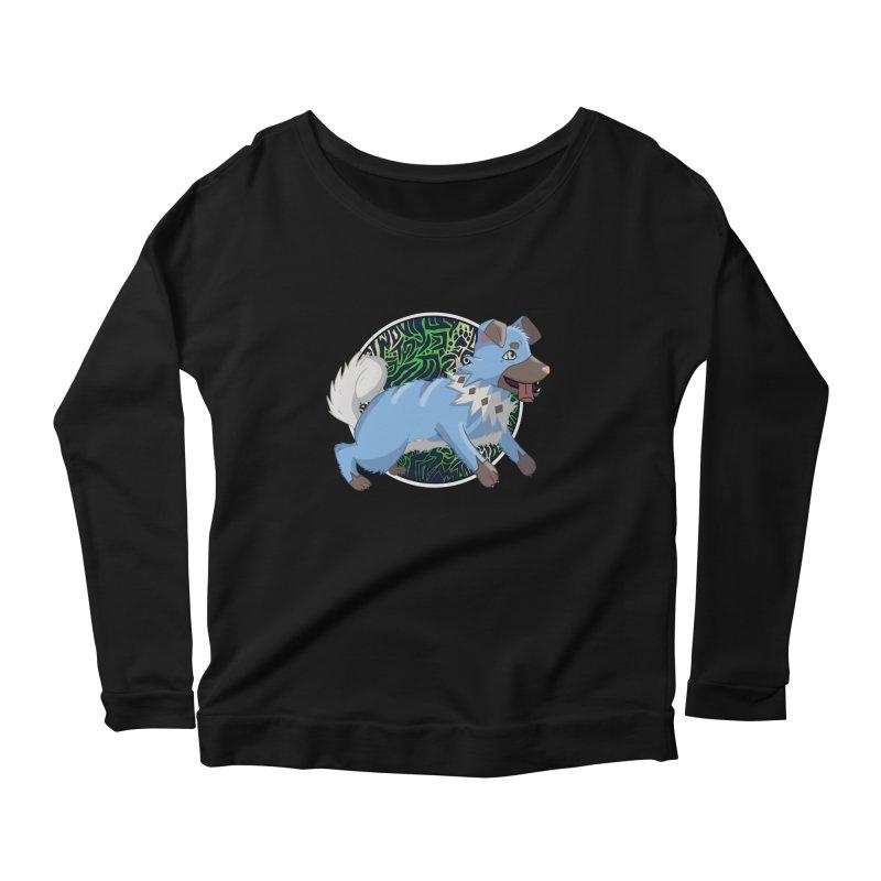 SHINY ROCK PUPPER Women's Scoop Neck Longsleeve T-Shirt by greenlambart's Artist Shop