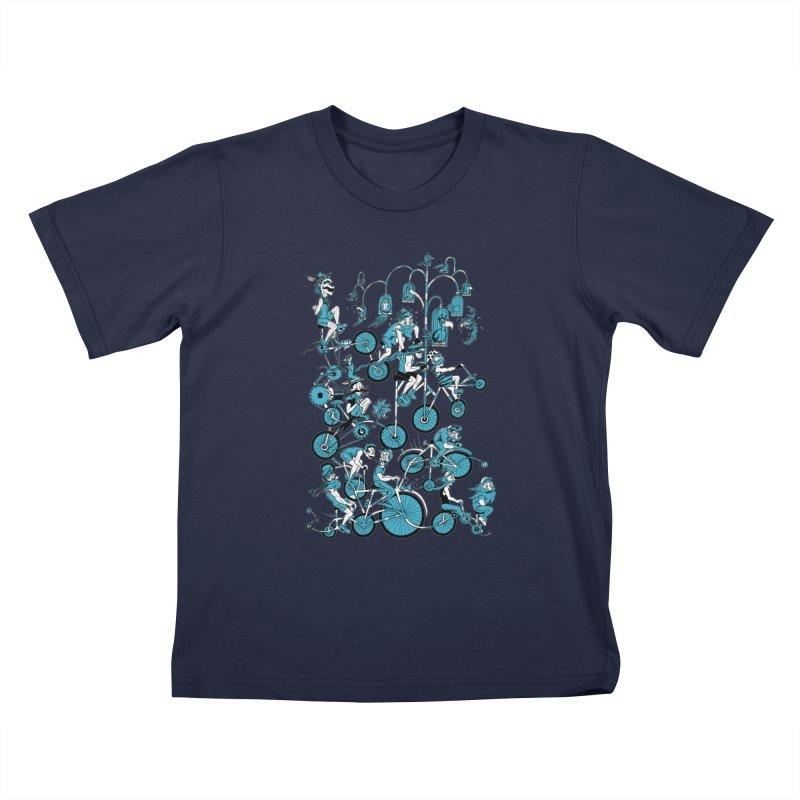 Mustache Riders Kids T-Shirt by Gregery Miller's Art Shop