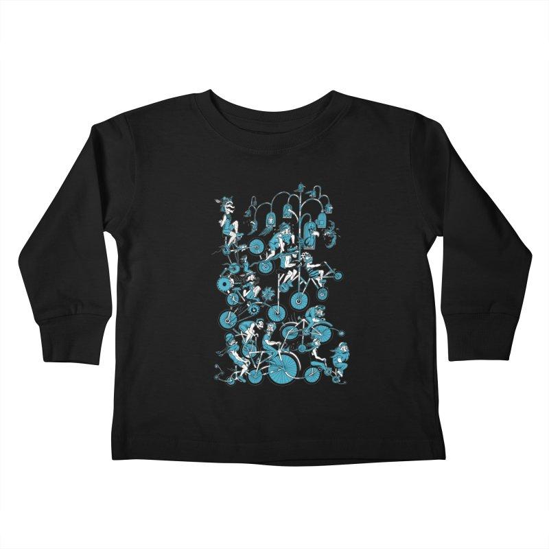 Mustache Riders Kids Toddler Longsleeve T-Shirt by Gregery Miller's Art Shop