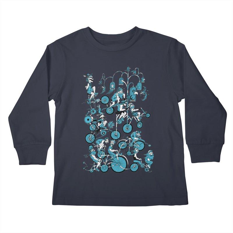 Mustache Riders Kids Longsleeve T-Shirt by Gregery Miller's Art Shop