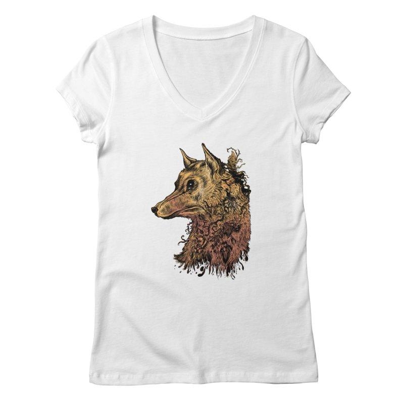 Wolf Spirit Women's V-Neck by Gregery Miller's Art Shop