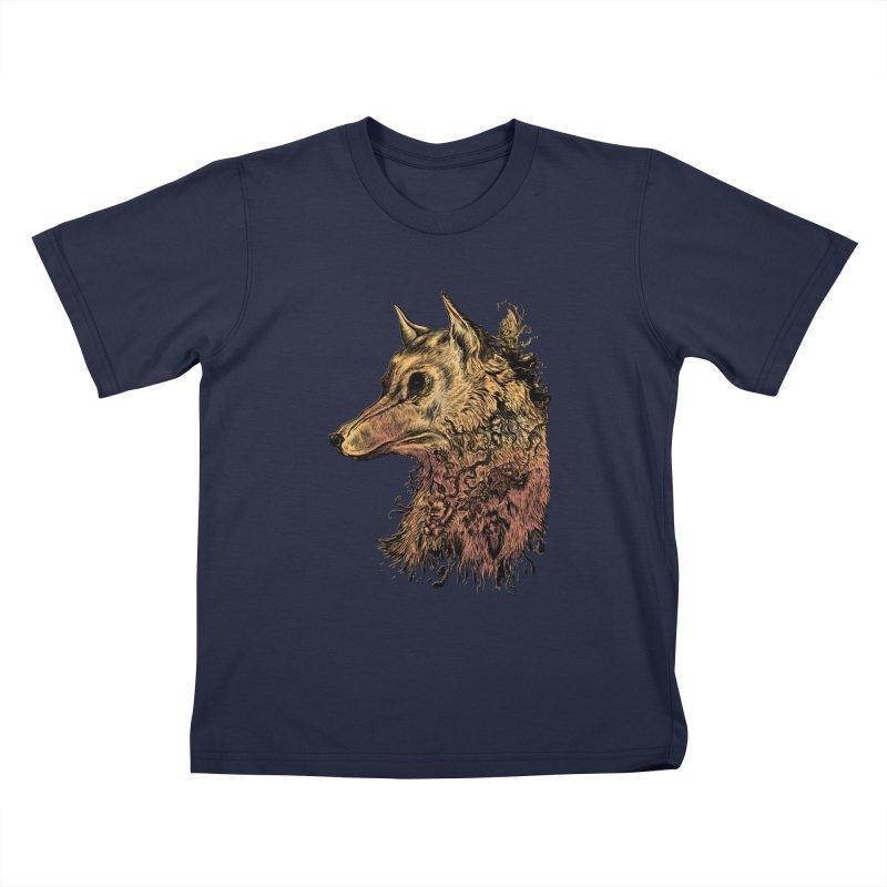 Wolf Spirit Kids T-Shirt by Gregery Miller's Art Shop