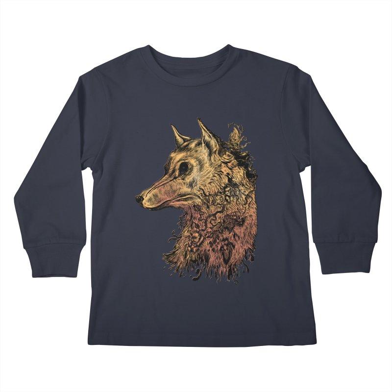 Wolf Spirit Kids Longsleeve T-Shirt by Gregery Miller's Art Shop