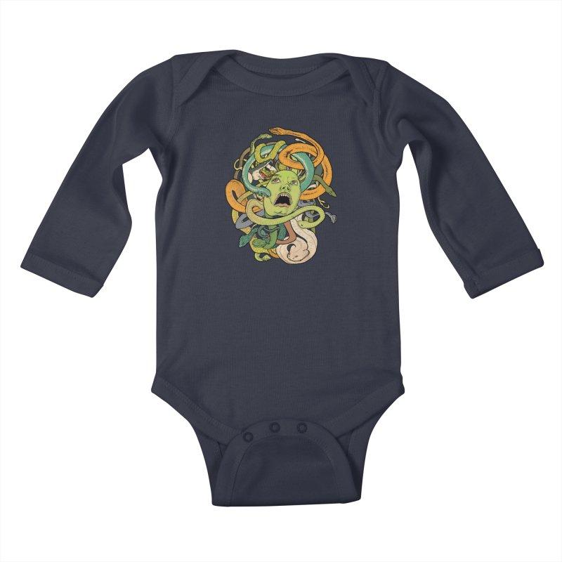 Medusa Kids Baby Longsleeve Bodysuit by Gregery Miller's Art Shop