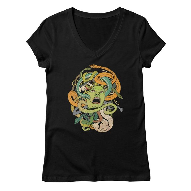 Medusa Women's V-Neck by Gregery Miller's Art Shop