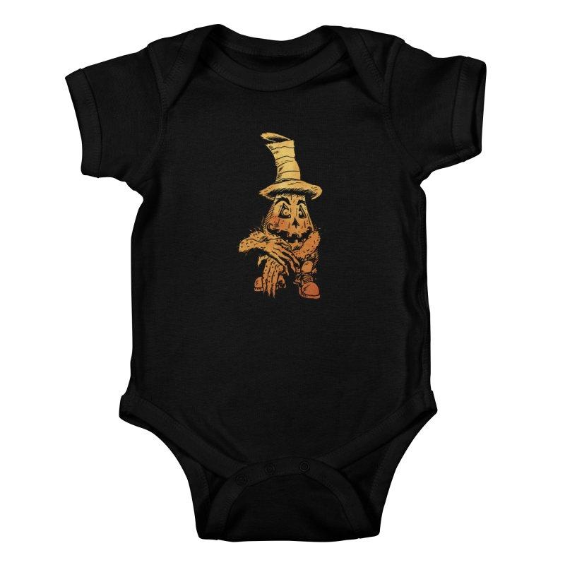 Pumpkin Head Kids Baby Bodysuit by Gregery Miller's Art Shop