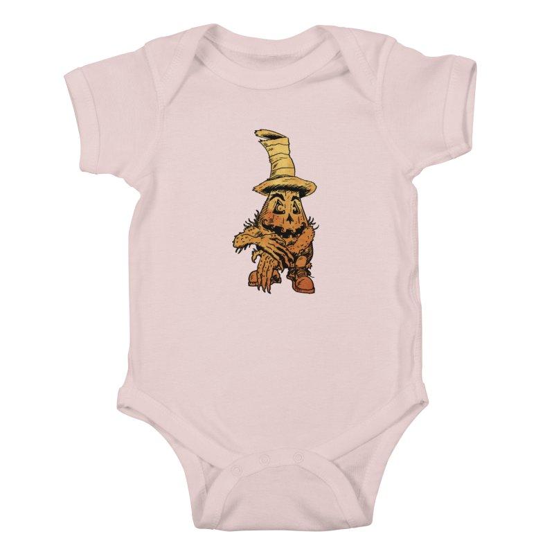 Pumpkin Head in Kids Baby Bodysuit Soft Pink by Gregery Miller's Art Shop