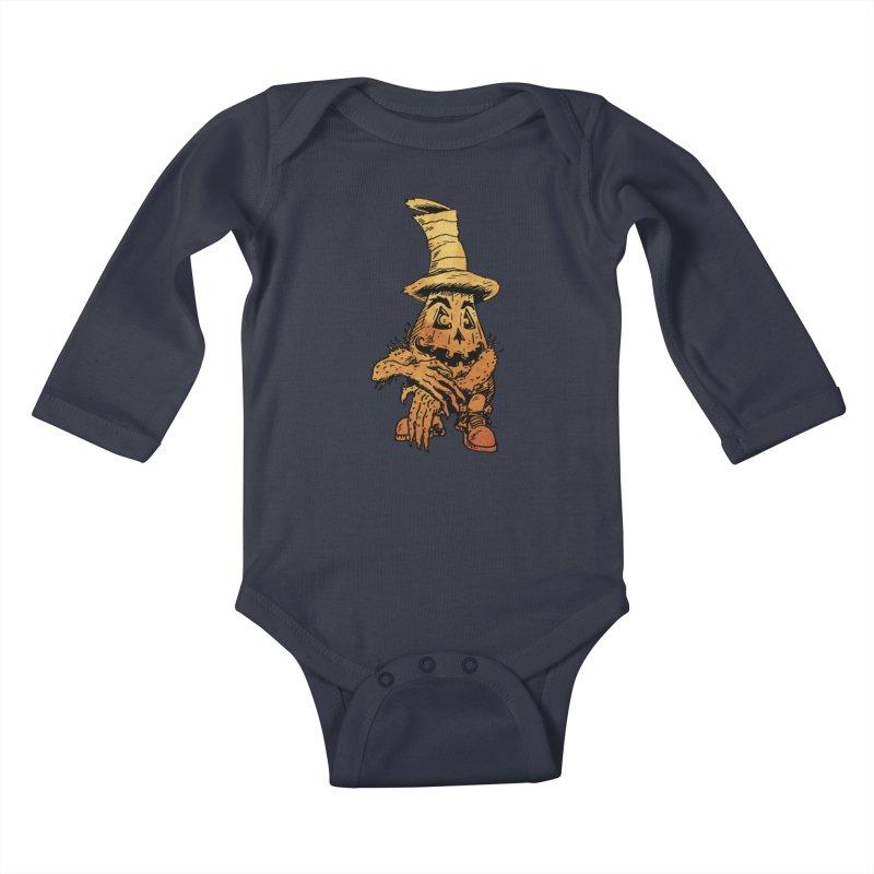 Pumpkin Head Kids Baby Longsleeve Bodysuit by Gregery Miller's Art Shop