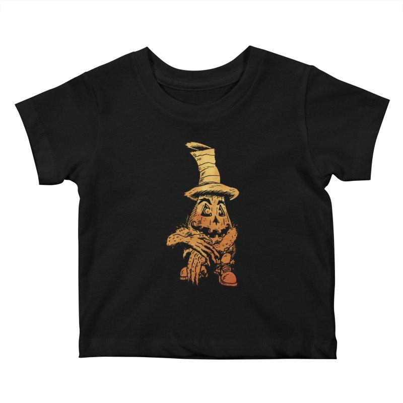 Pumpkin Head Kids Baby T-Shirt by Gregery Miller's Art Shop
