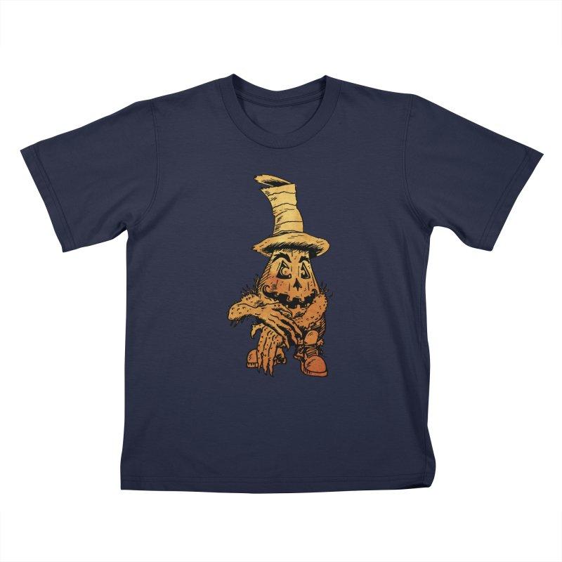Pumpkin Head Kids T-Shirt by Gregery Miller's Art Shop