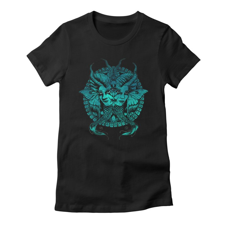 The Sirens in Women's Fitted T-Shirt Black by Gregery Miller's Art Shop