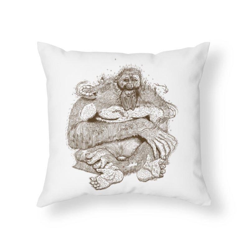 Sasquatch Home Throw Pillow by Gregery Miller's Art Shop