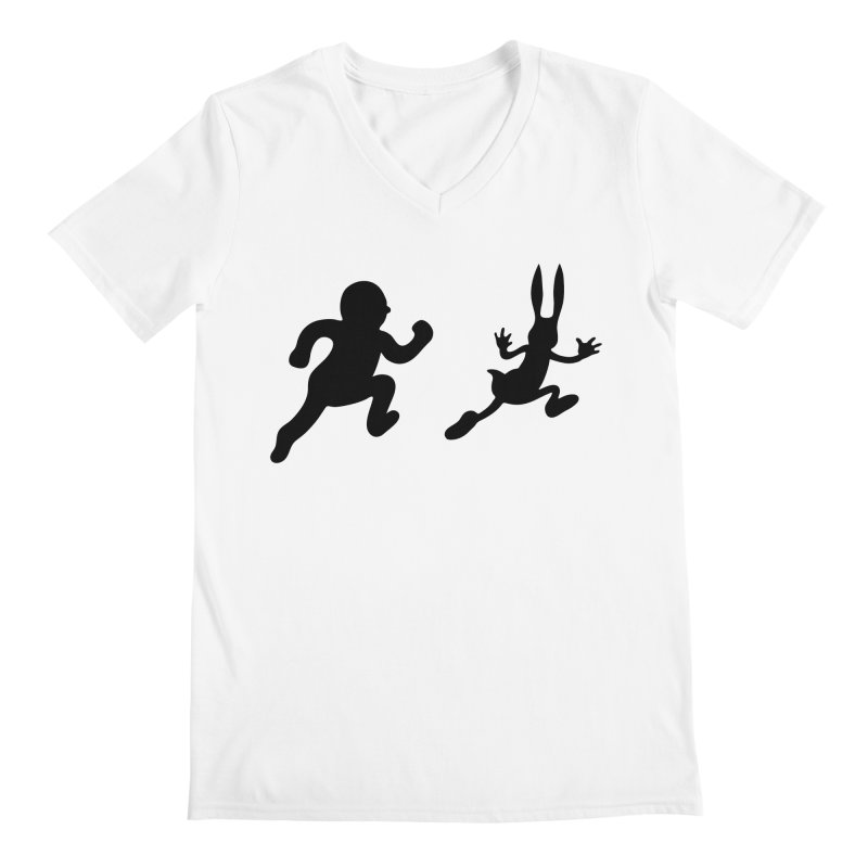 Bunny and Hunter Men's V-Neck by grego's Artist Shop