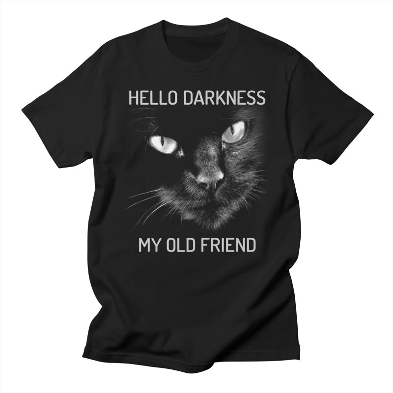Hello Darkness My Old Friend Black Cat Men's T-Shirt by GritFX T-Shirts