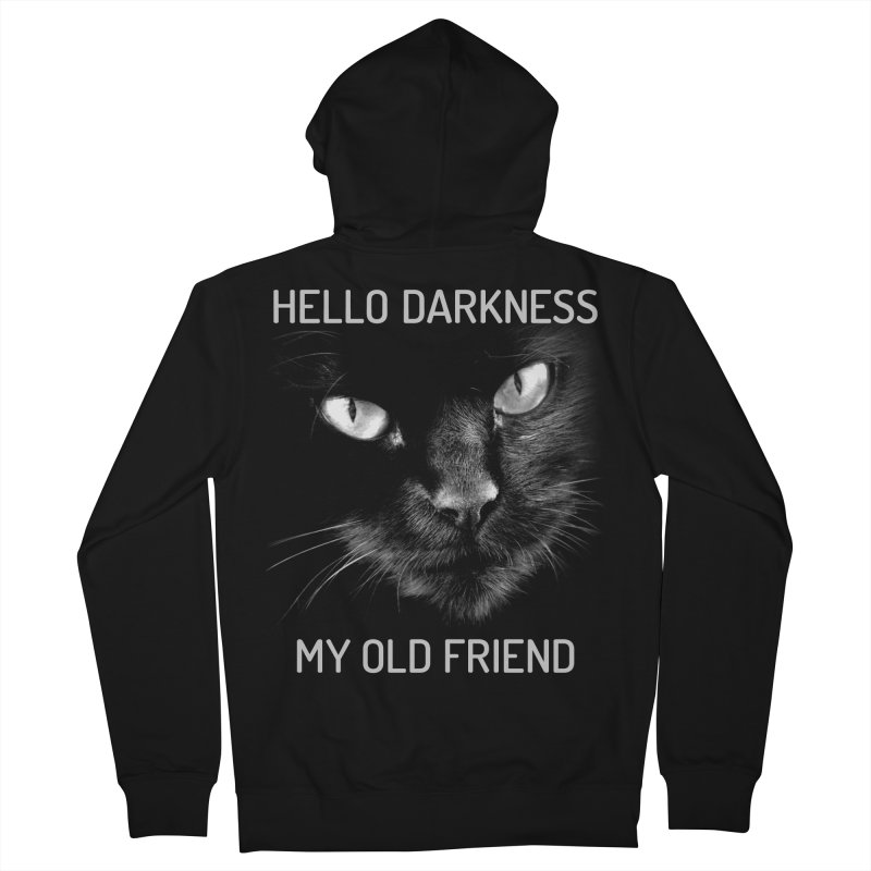 Hello Darkness My Old Friend Black Cat Men's Zip-Up Hoody by GritFX T-Shirts