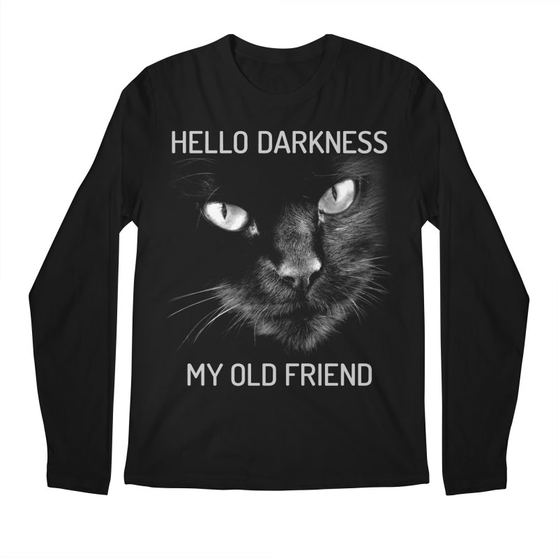 Hello Darkness My Old Friend Black Cat Men's Longsleeve T-Shirt by GritFX T-Shirts