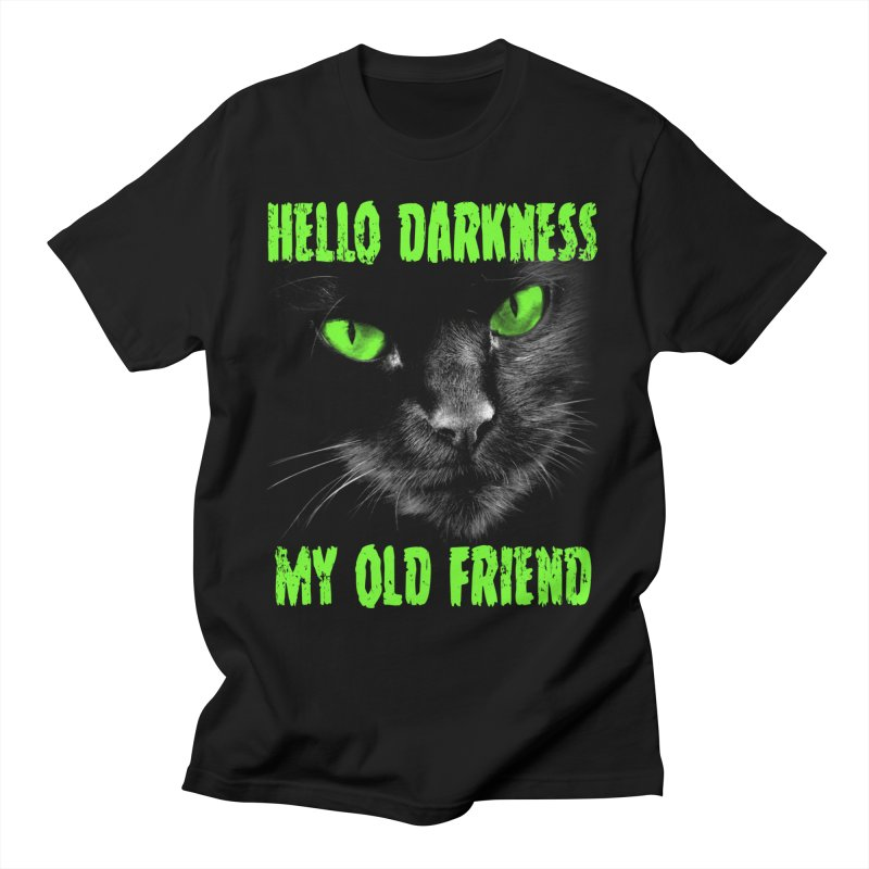 Hello Darkness Cat - Green Eyes Men's T-Shirt by GritFX T-Shirts