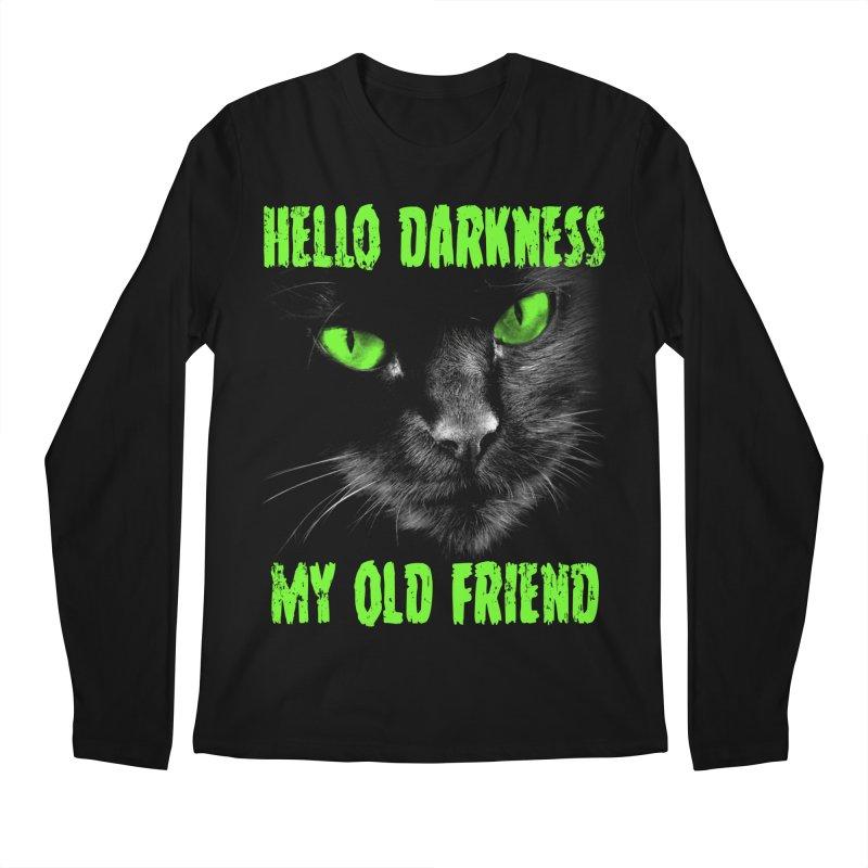 Hello Darkness Cat - Green Eyes Men's Longsleeve T-Shirt by GritFX T-Shirts