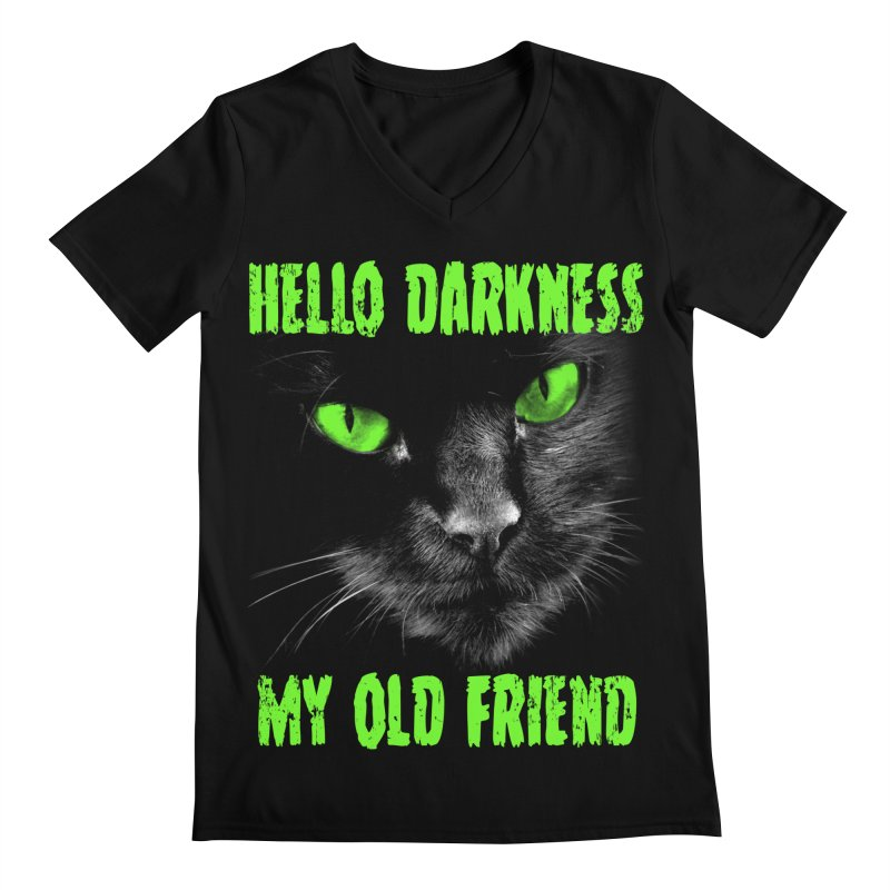 Hello Darkness Cat - Green Eyes Men's V-Neck by GritFX T-Shirts