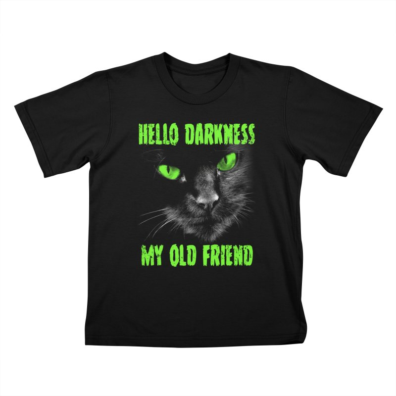 Hello Darkness Cat - Green Eyes Kids T-Shirt by GritFX T-Shirts