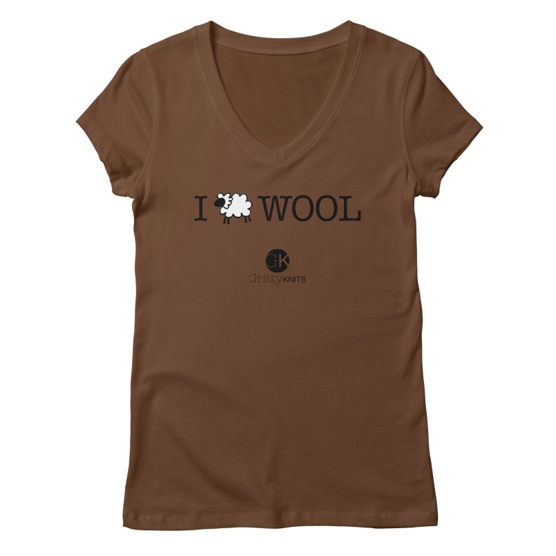 I (sheep) WOOL Women's Regular V-Neck by Gritty Knits
