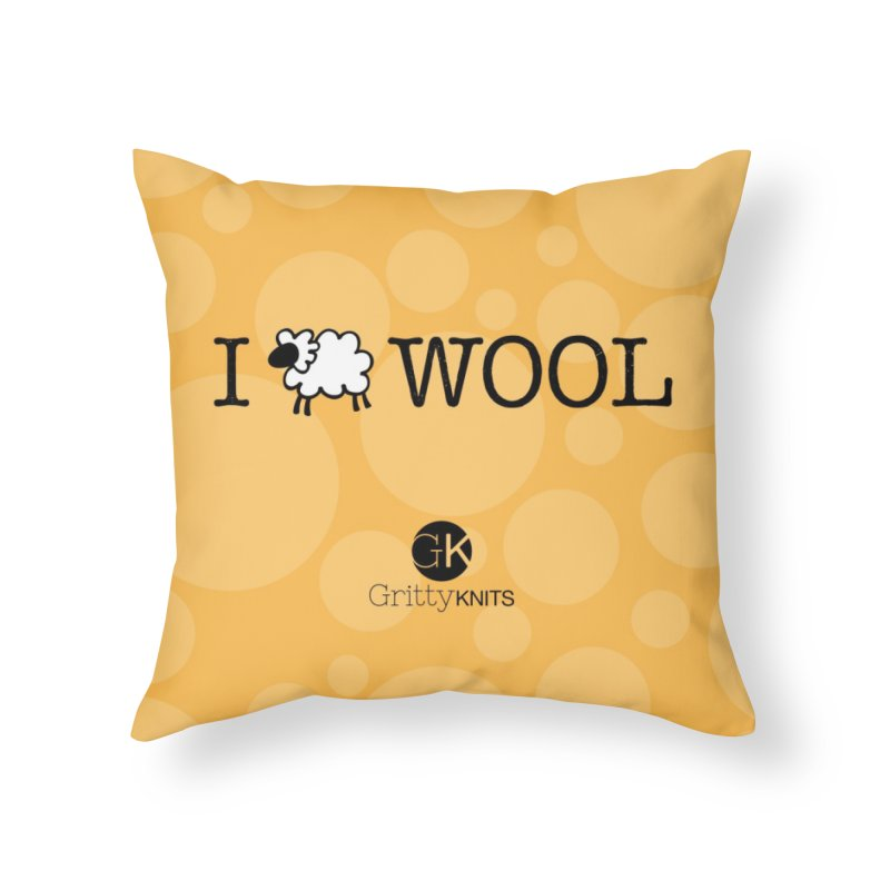 I (sheep) WOOL Home Throw Pillow by Gritty Knits