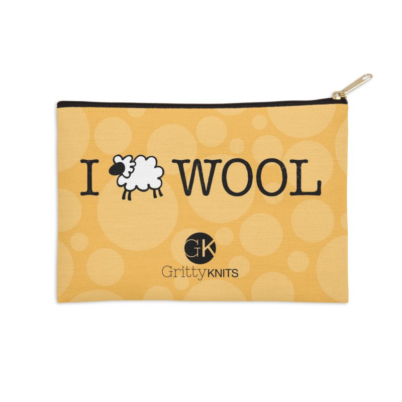 I (sheep) WOOL Accessories Zip Pouch by Gritty Knits