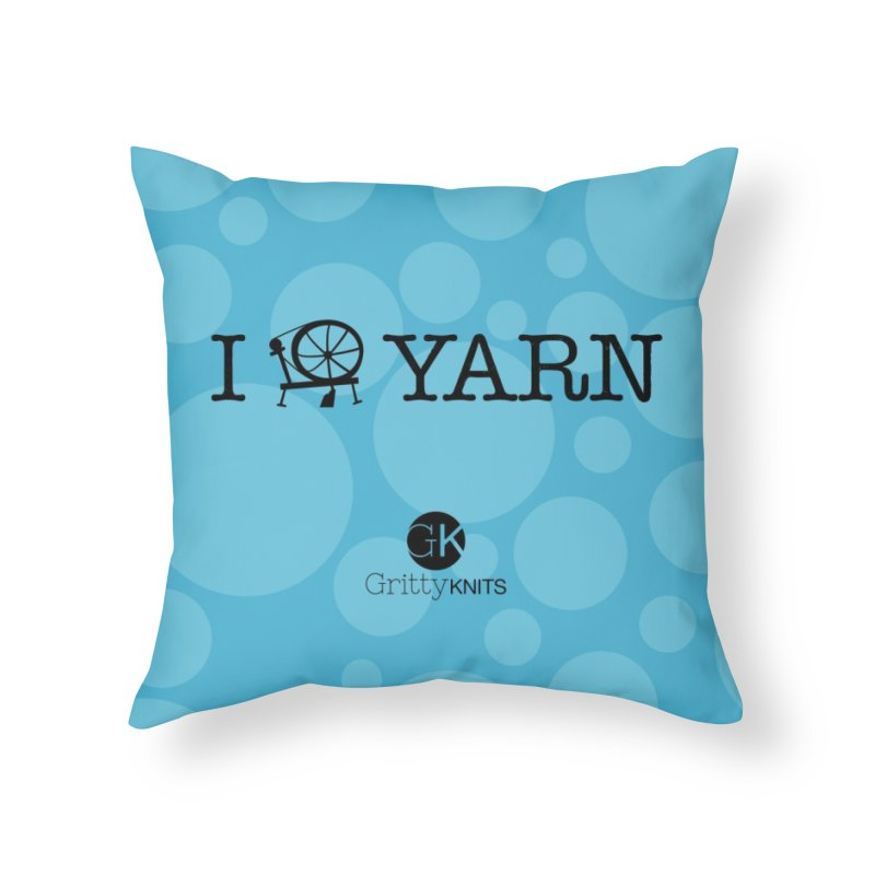 I (spin) YARN Home Throw Pillow by Gritty Knits