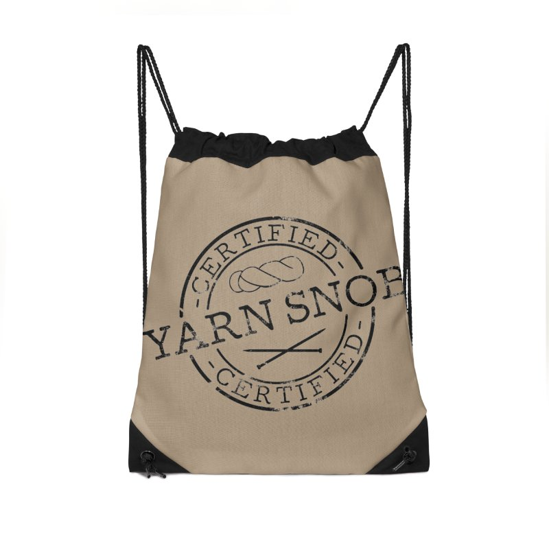 Certified Yarn Snob Accessories Drawstring Bag Bag by Gritty Knits