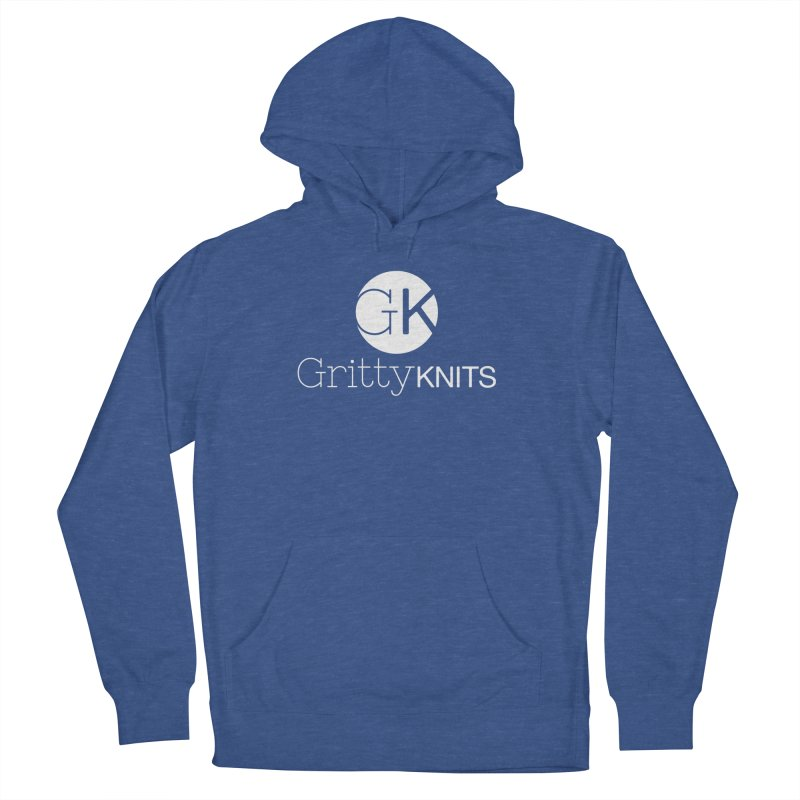 GK - Gritty Knits logo (white) Men's French Terry Pullover Hoody by Gritty Knits