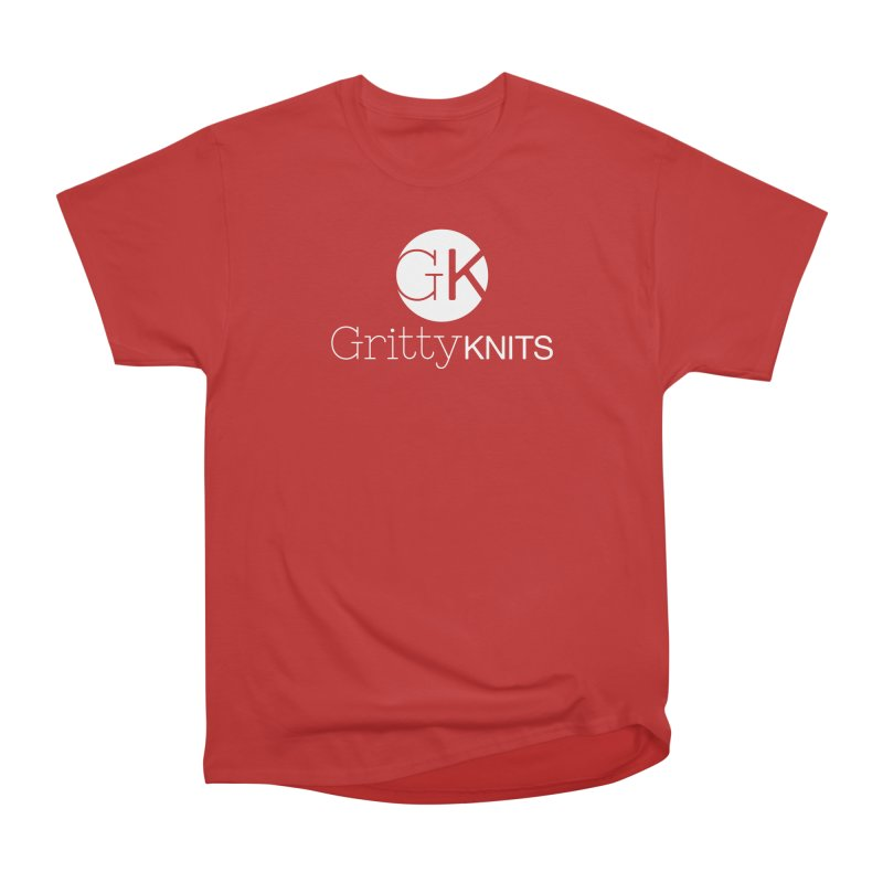 GK - Gritty Knits logo (white) Women's Heavyweight Unisex T-Shirt by Gritty Knits