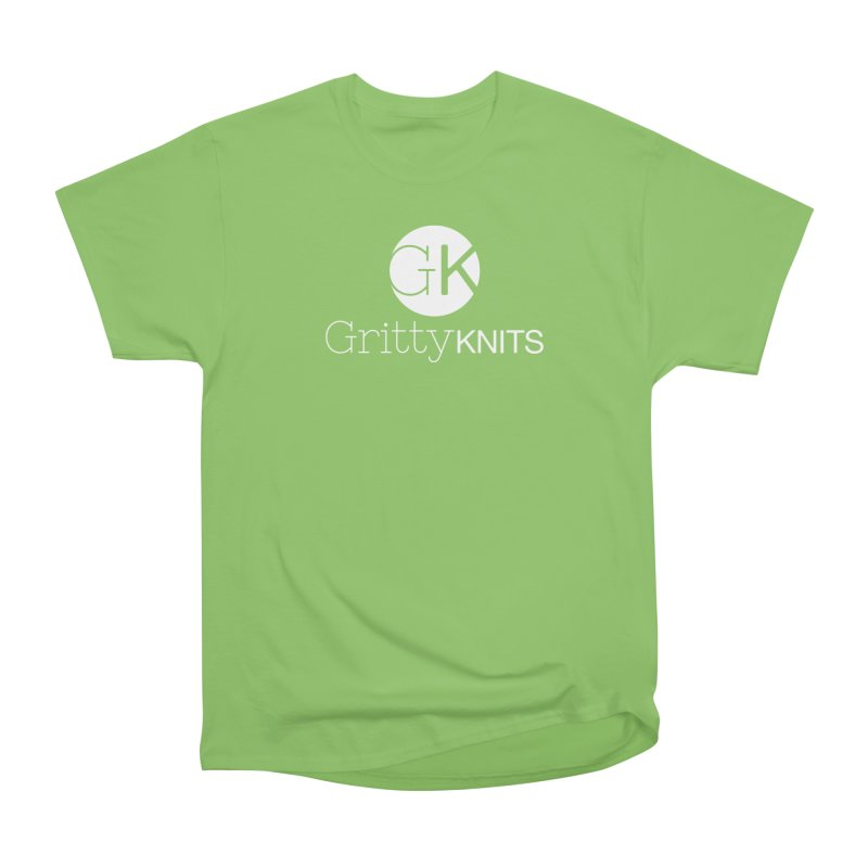 GK - Gritty Knits logo (white) Men's Heavyweight T-Shirt by Gritty Knits