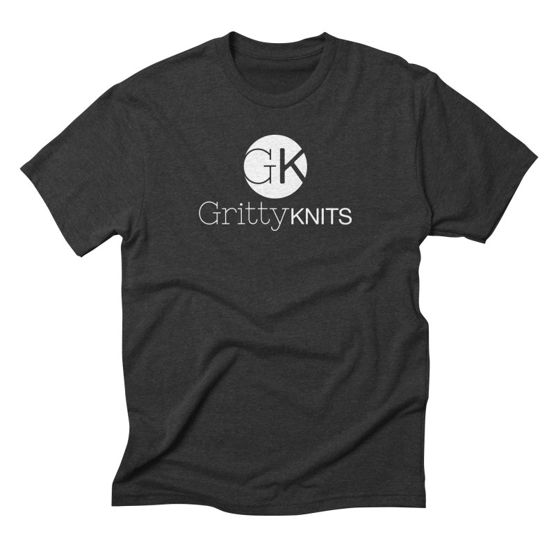 GK - Gritty Knits logo (white) Men's Triblend T-Shirt by Gritty Knits