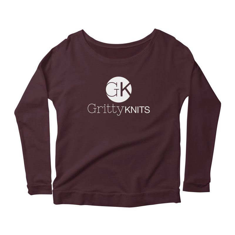 GK - Gritty Knits logo (white) Women's Scoop Neck Longsleeve T-Shirt by Gritty Knits