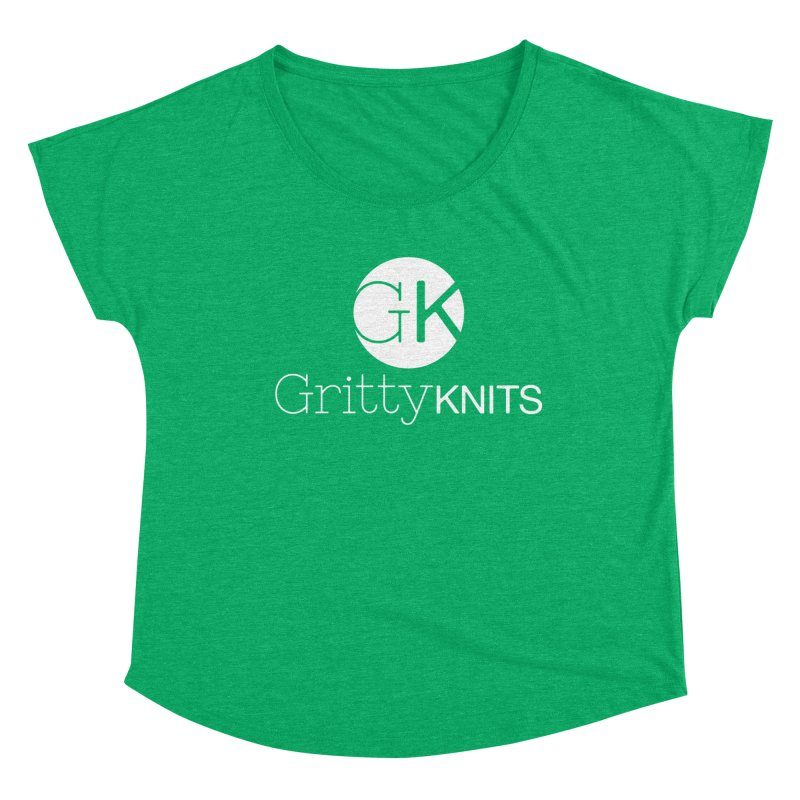 GK - Gritty Knits logo (white) Women's Dolman Scoop Neck by Gritty Knits