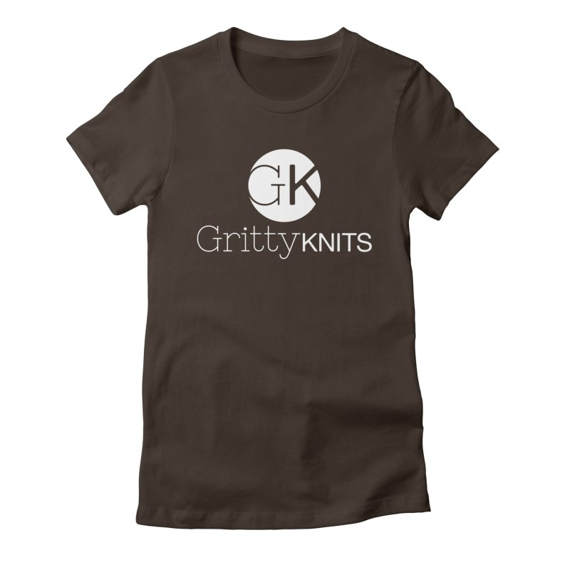 GK - Gritty Knits logo (white) Women's Fitted T-Shirt by Gritty Knits