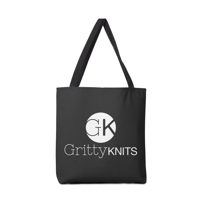 GK - Gritty Knits logo (white) Accessories Tote Bag Bag by Gritty Knits