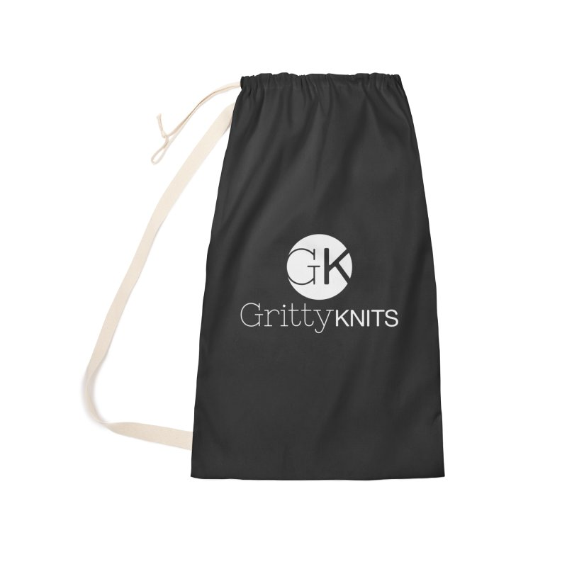 GK - Gritty Knits logo (white) Accessories Laundry Bag Bag by Gritty Knits