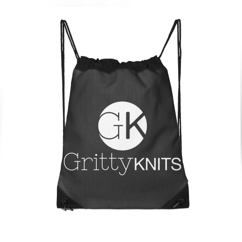 GK - Gritty Knits logo (white) Accessories Drawstring Bag Bag by Gritty Knits