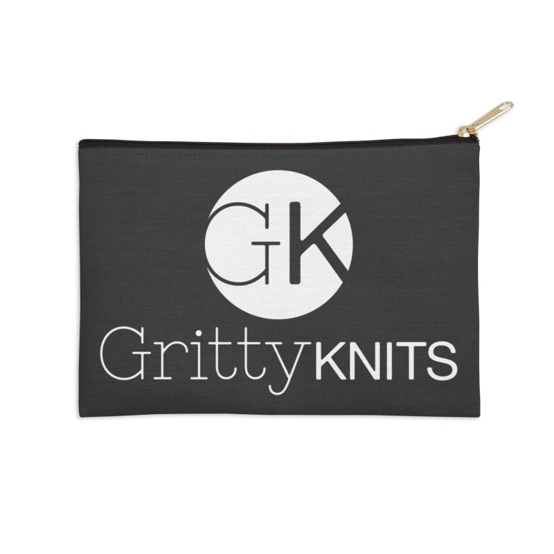 GK - Gritty Knits logo (white) Accessories Zip Pouch by Gritty Knits