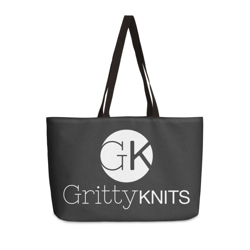 GK - Gritty Knits logo (white) Accessories Weekender Bag Bag by Gritty Knits