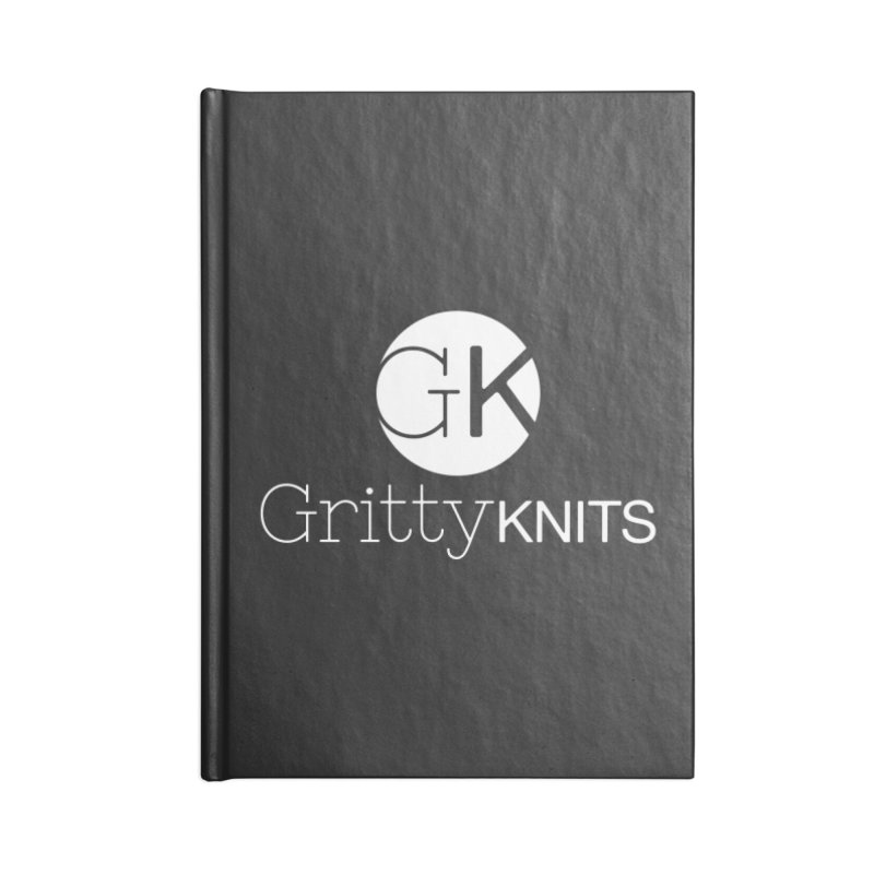 GK - Gritty Knits logo (white) Accessories Blank Journal Notebook by Gritty Knits