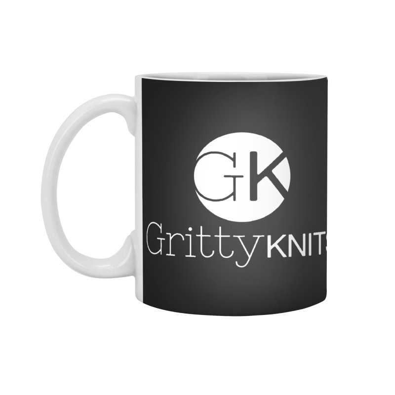 GK - Gritty Knits logo (white) Accessories Standard Mug by Gritty Knits