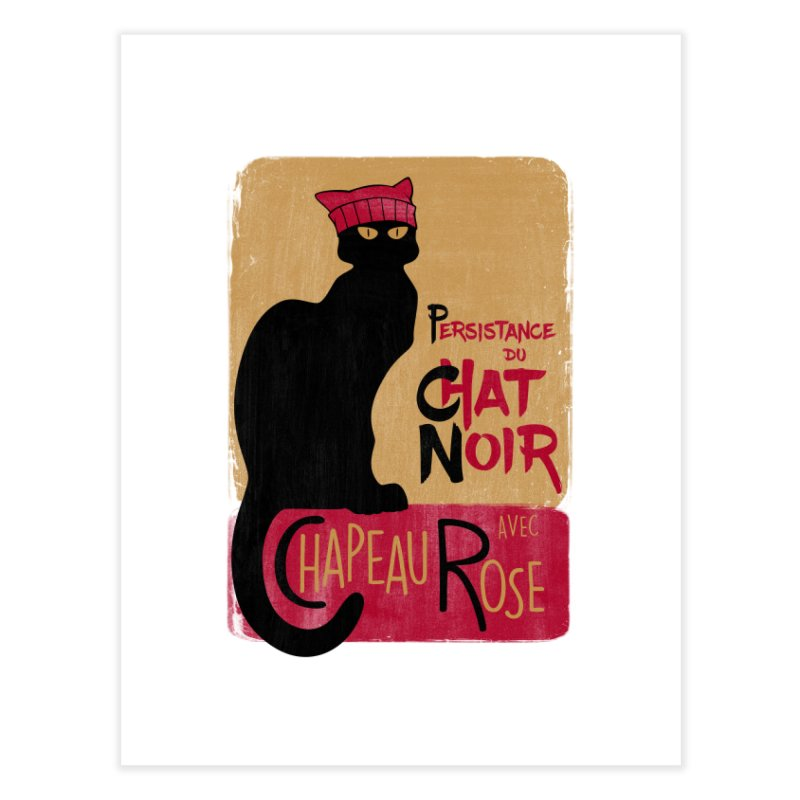 Persistance du Chat Noir avec Chapeau Rose Home Fine Art Print by Gritty Knits