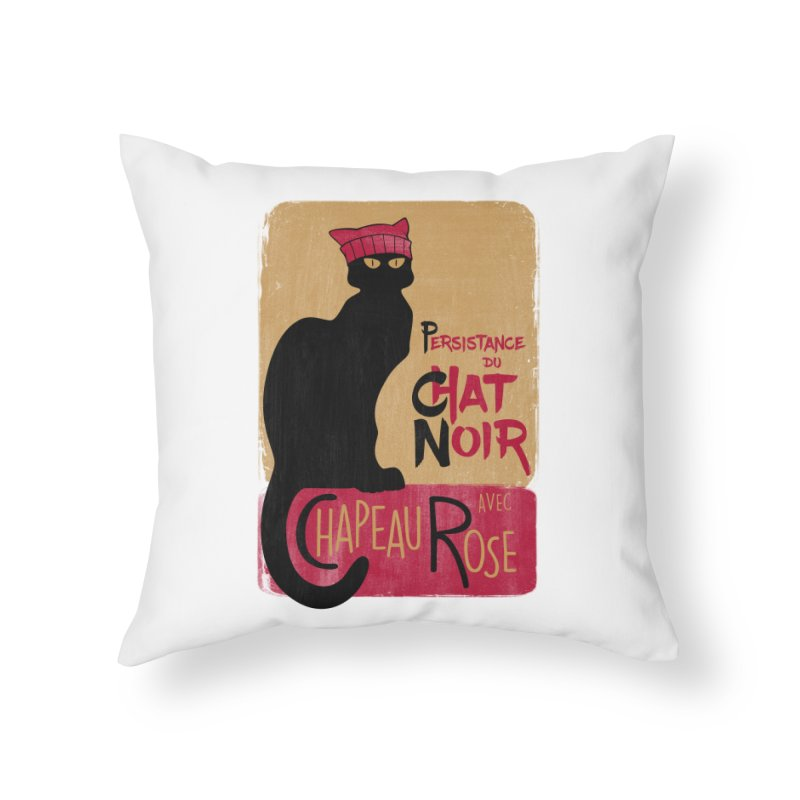 Persistance du Chat Noir avec Chapeau Rose Home Throw Pillow by Gritty Knits