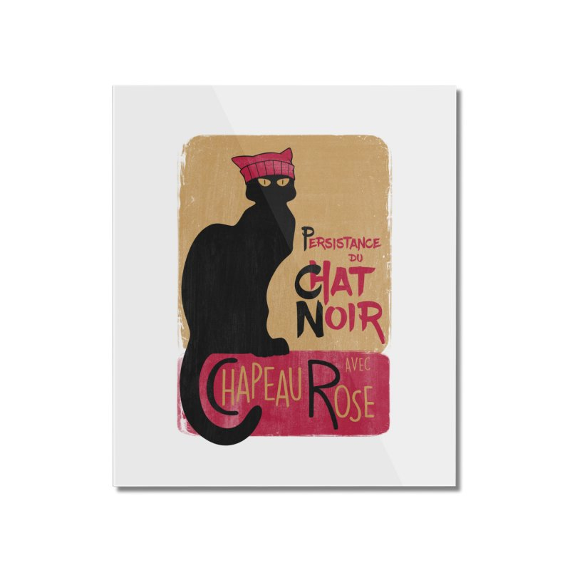 Persistance du Chat Noir avec Chapeau Rose Home Mounted Acrylic Print by Gritty Knits
