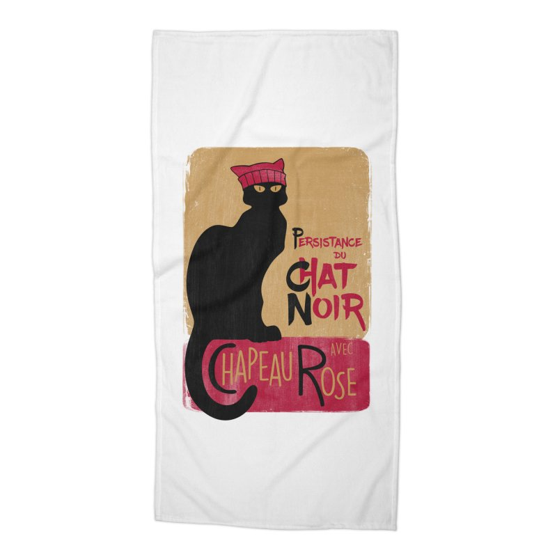 Persistance du Chat Noir avec Chapeau Rose Accessories Beach Towel by Gritty Knits