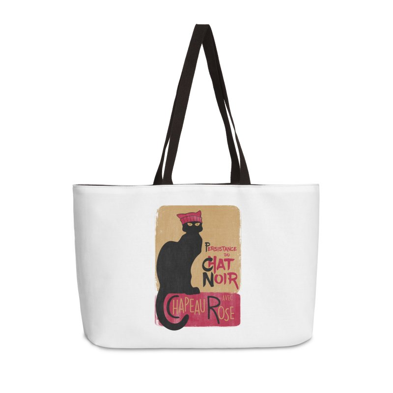 Persistance du Chat Noir avec Chapeau Rose Accessories Weekender Bag Bag by Gritty Knits