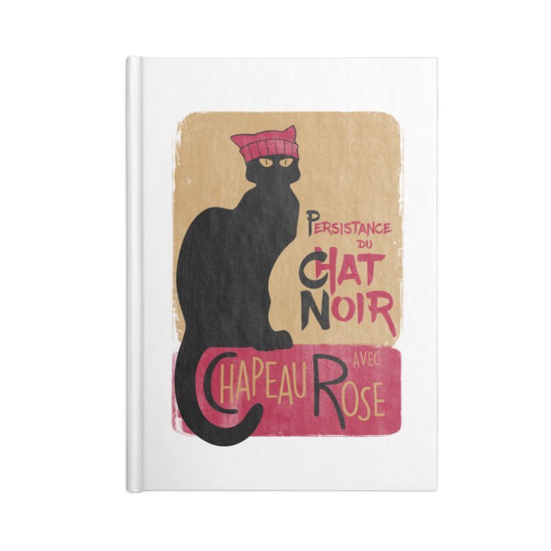 Persistance du Chat Noir avec Chapeau Rose Accessories Lined Journal Notebook by Gritty Knits