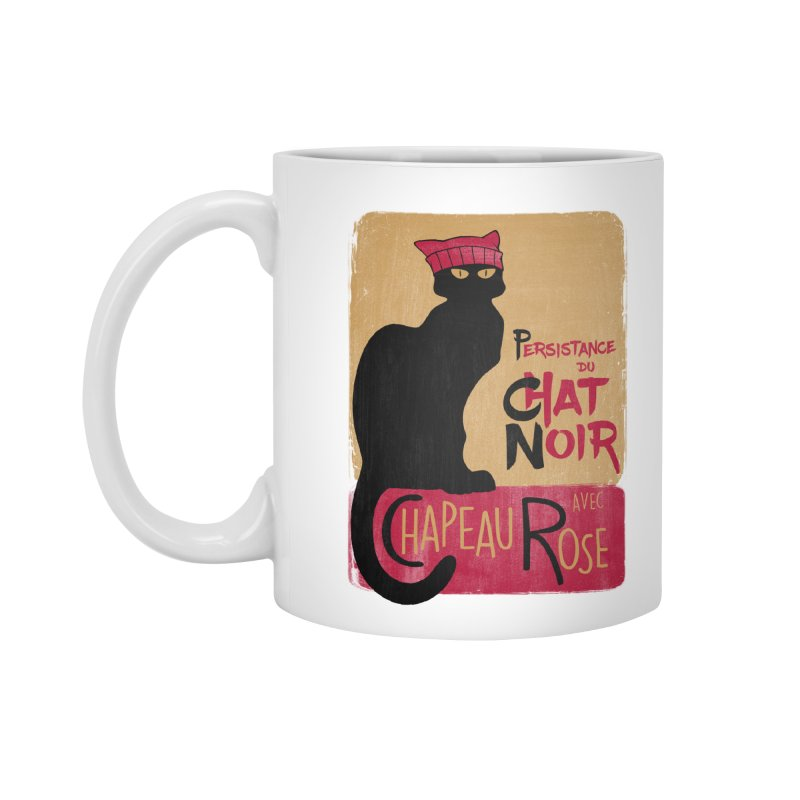 Persistance du Chat Noir avec Chapeau Rose Accessories Standard Mug by Gritty Knits